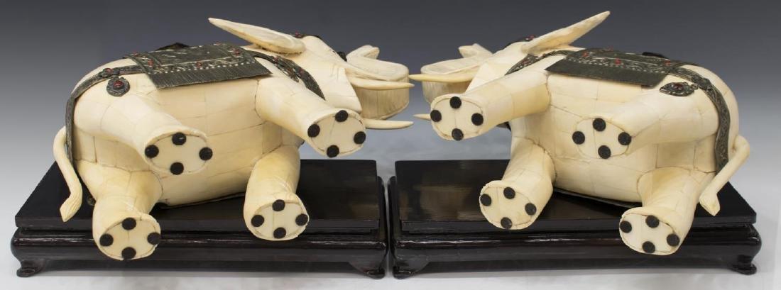 (2) LARGE CHINESE TILED BONE STANDING ELEPHANTS - 3