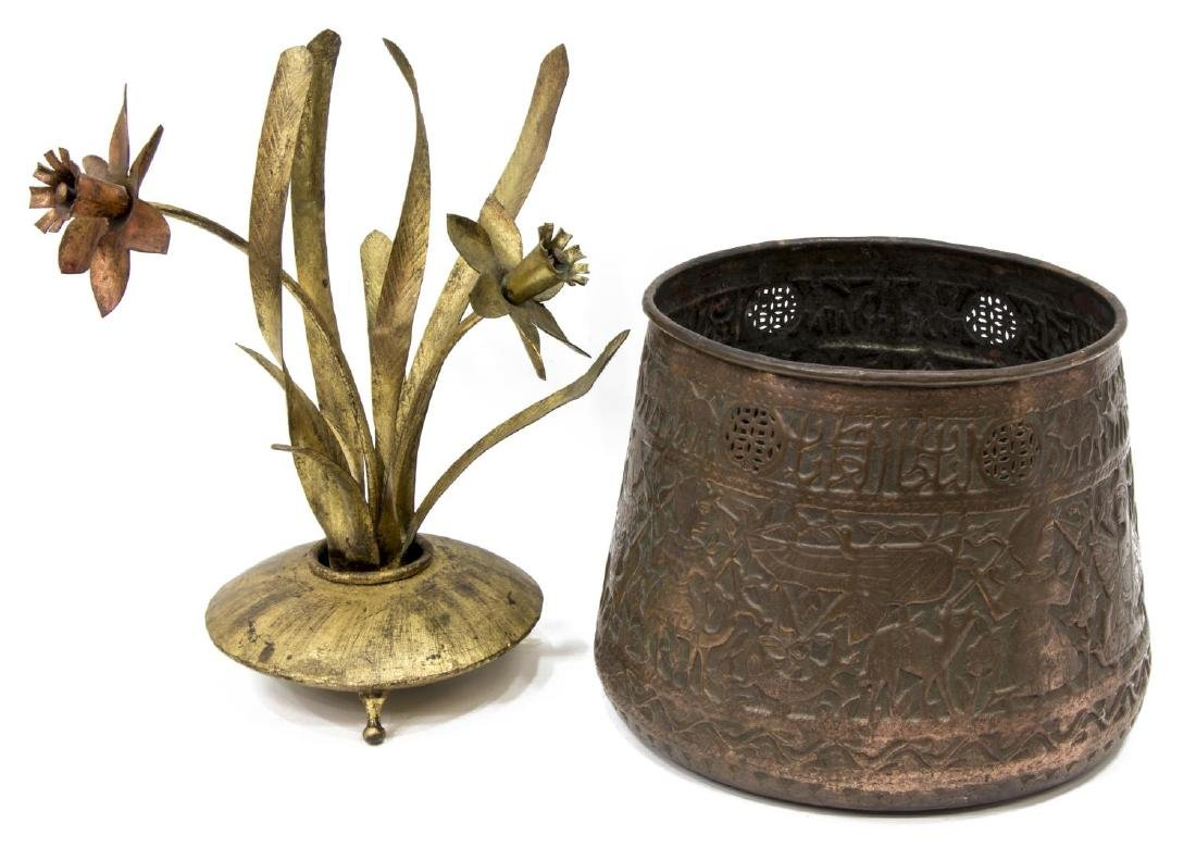 (2) SPANISH & SYRIAN METALWORK ITEMS, COPPER POT