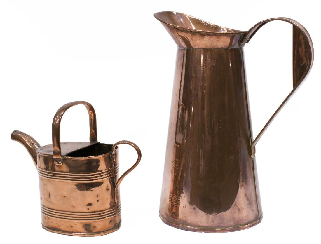 (2) ANTIQUE COPPER WATERING CAN & PITCHER