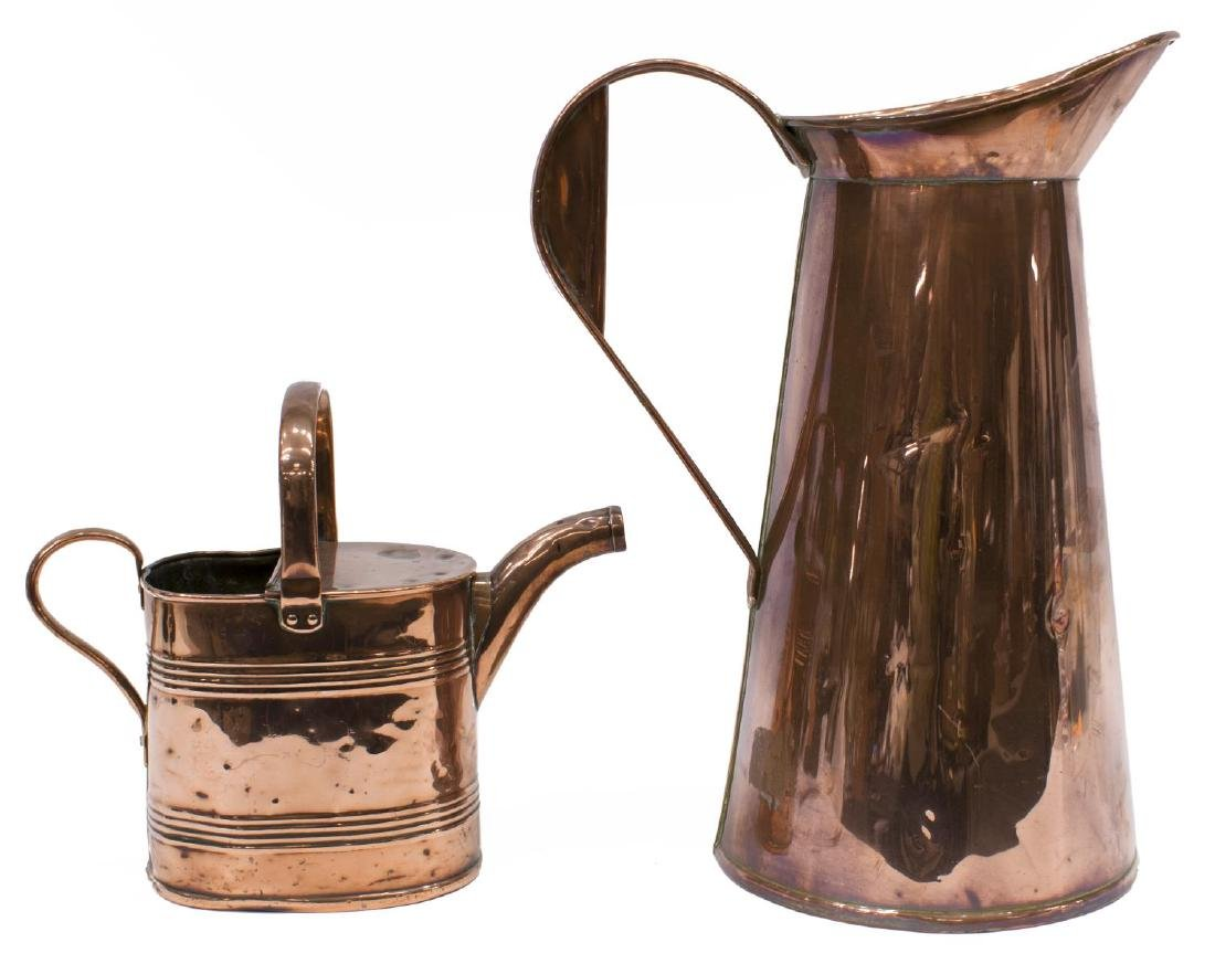 (2) ANTIQUE COPPER WATERING CAN & PITCHER - 2
