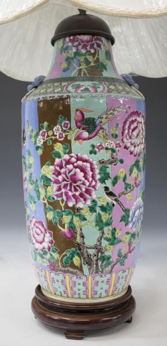 CHINESE FAMILLE ROSE PORCELAIN VASE TABLE LAMP - 2