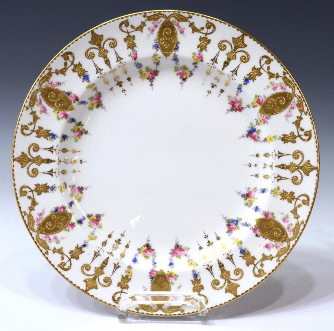 (6) ROYAL CROWN DERBY GILDED FLORAL SERVICE PLATES - 2