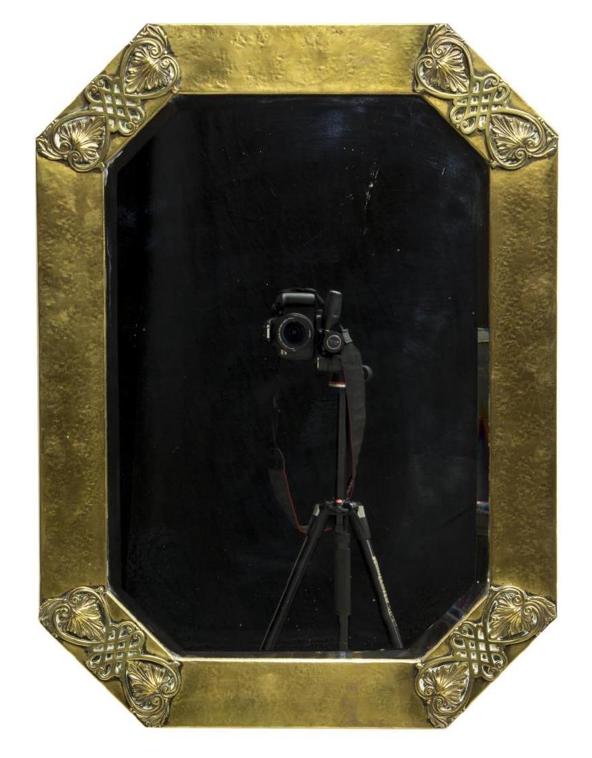 GILT HAMMERED BRASS WALL MIRROR, C. 1940 - 2