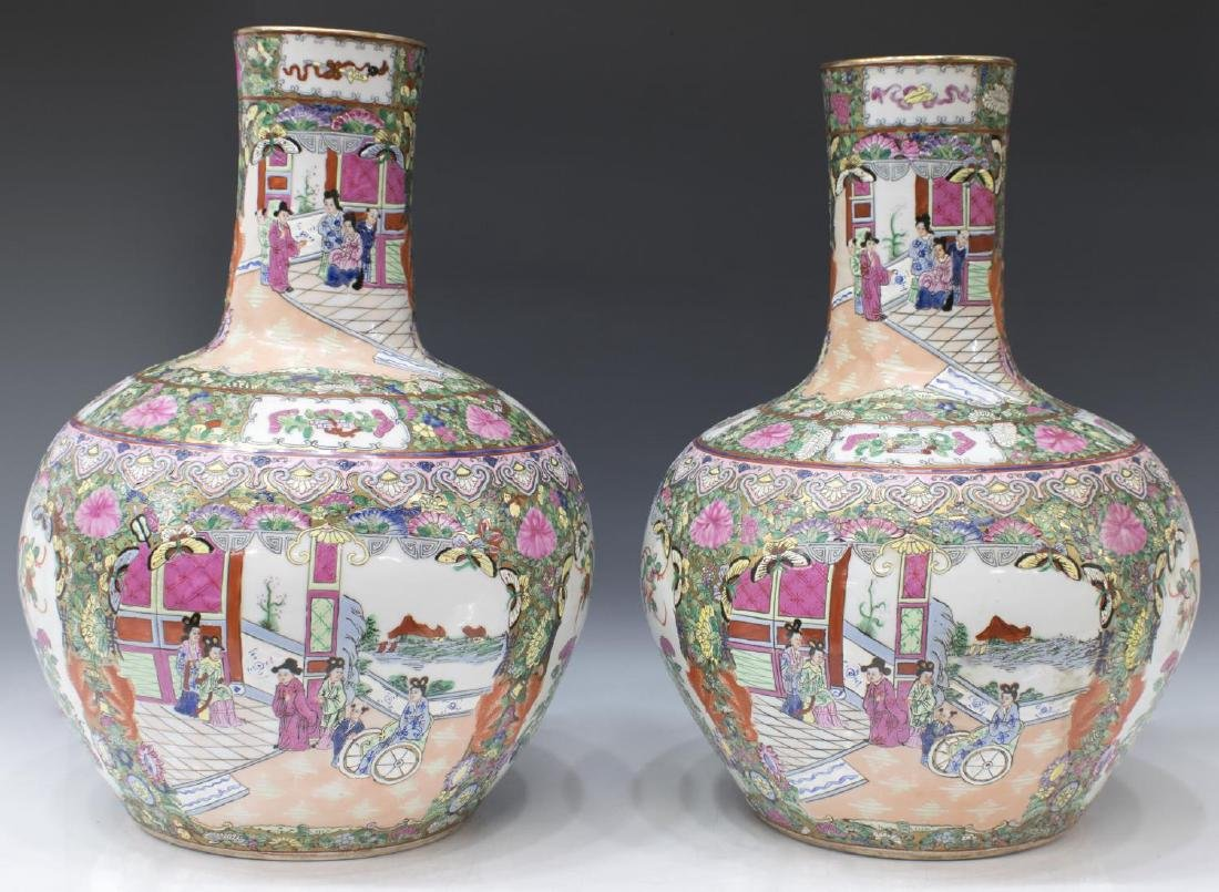 (2) CHINESE ROSE MEDALLION GILT GLOBULAR VASE