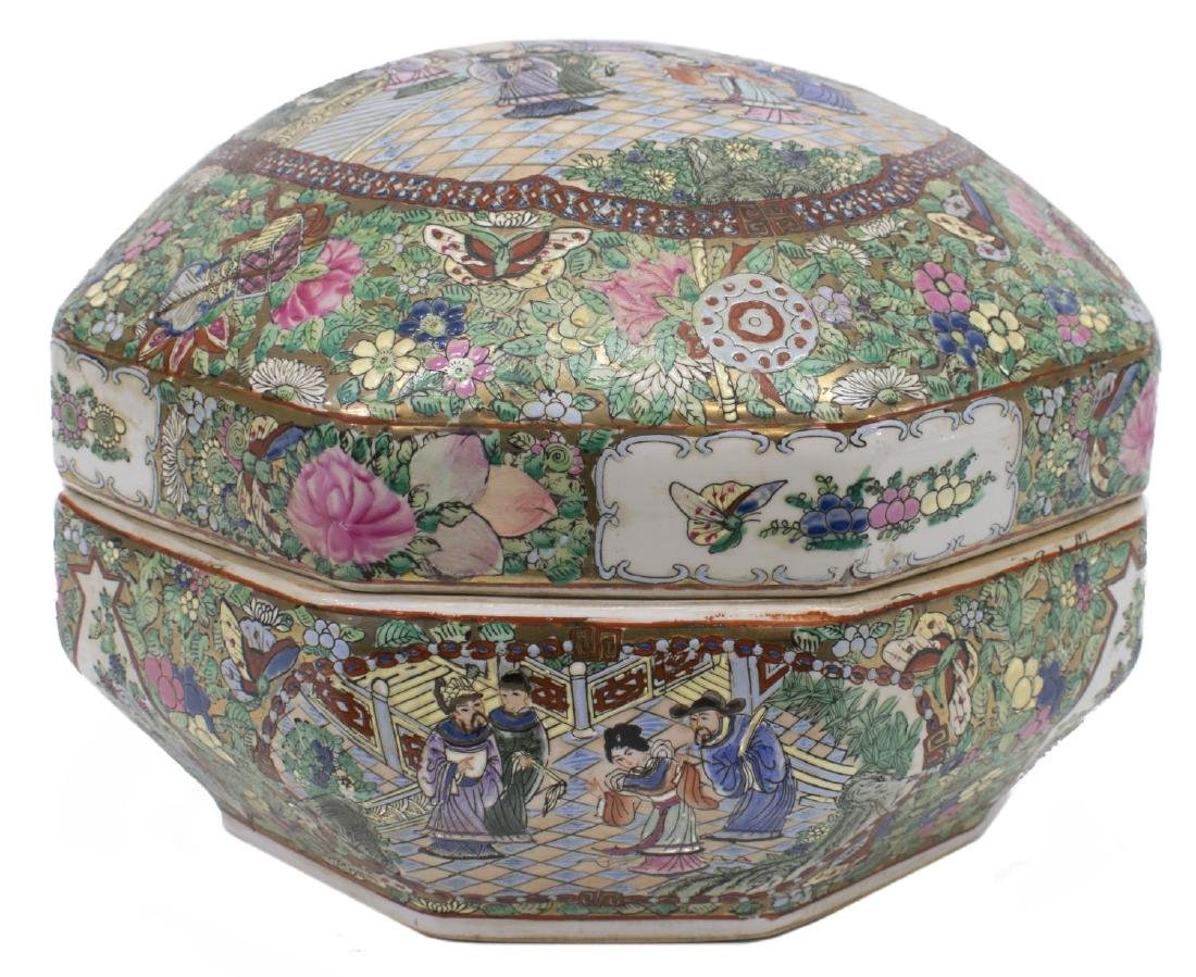 LARGE CHINESE ROSE MEDALLION OCTAGONAL BOX