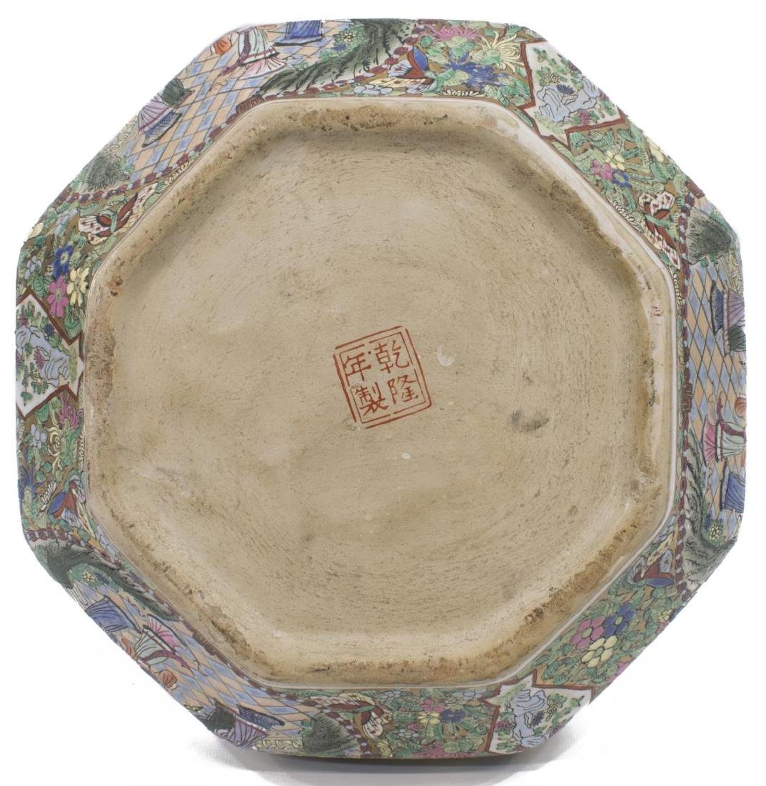 LARGE CHINESE ROSE MEDALLION OCTAGONAL BOX - 3