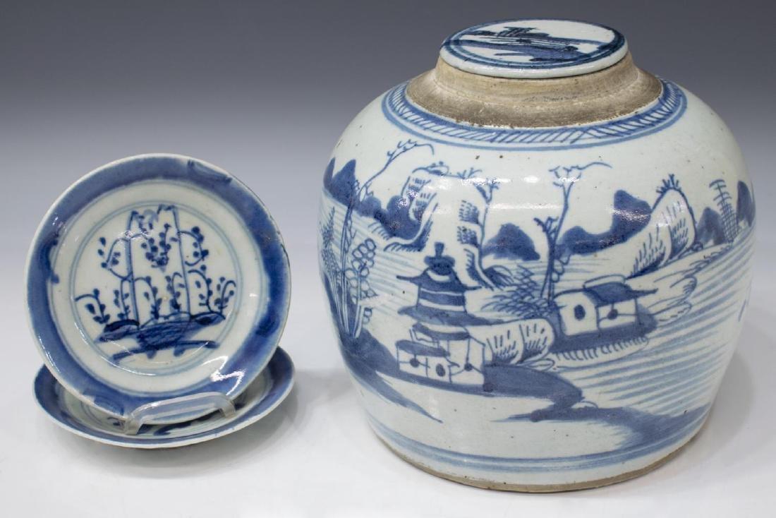 (3) CHINESE CERAMIC BLUE & WHITE JAR & PLATES
