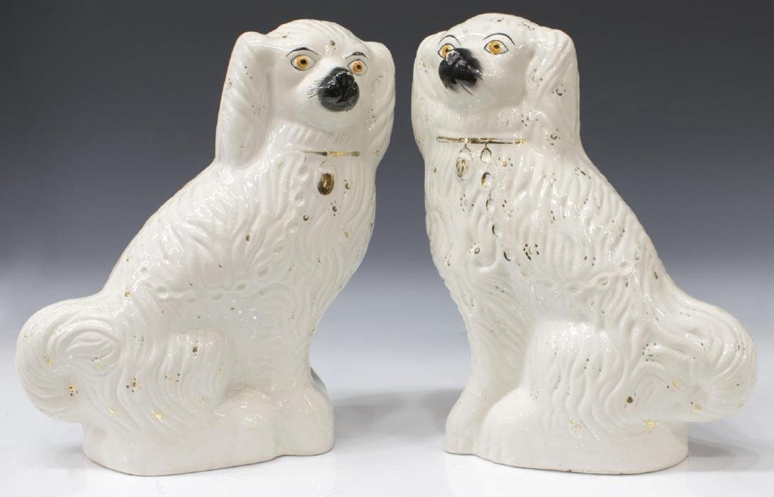 (PAIR) ENGLISH STAFFORDSHIRE FIGURES MANTLE DOGS