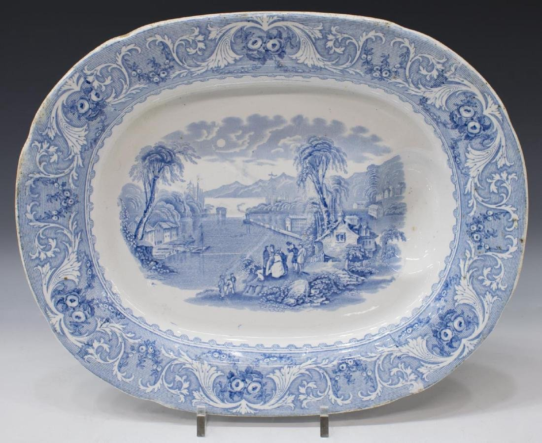ENGLISH STAFFORDSHIRE WELL-AND-TREE PLATTER, LAKE