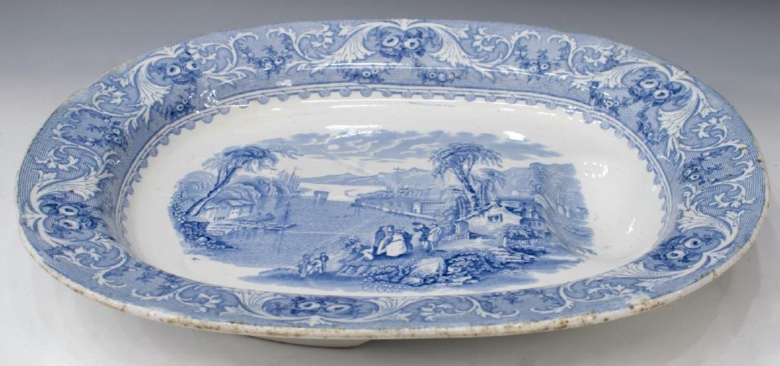 ENGLISH STAFFORDSHIRE WELL-AND-TREE PLATTER, LAKE - 2