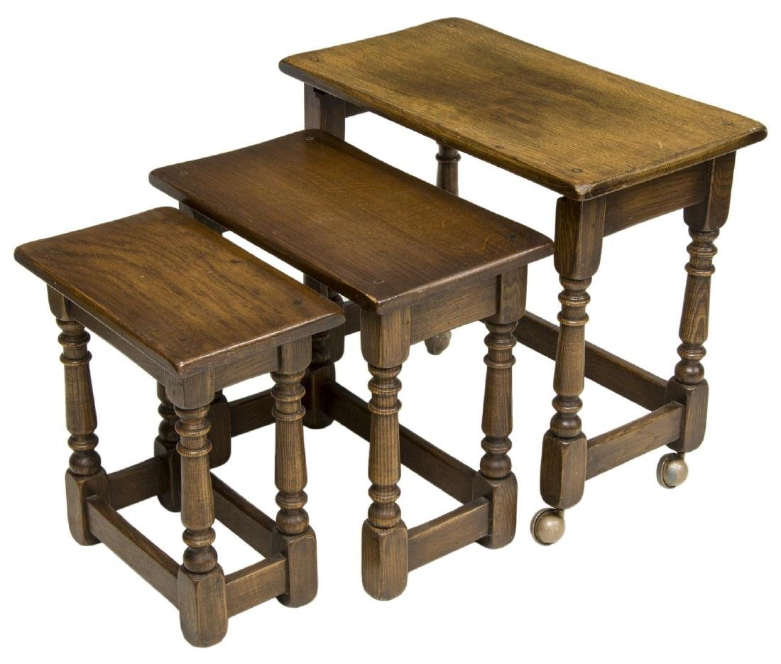 (3) ENGLISH OAK GRADUATED NESTING TABLES - 2