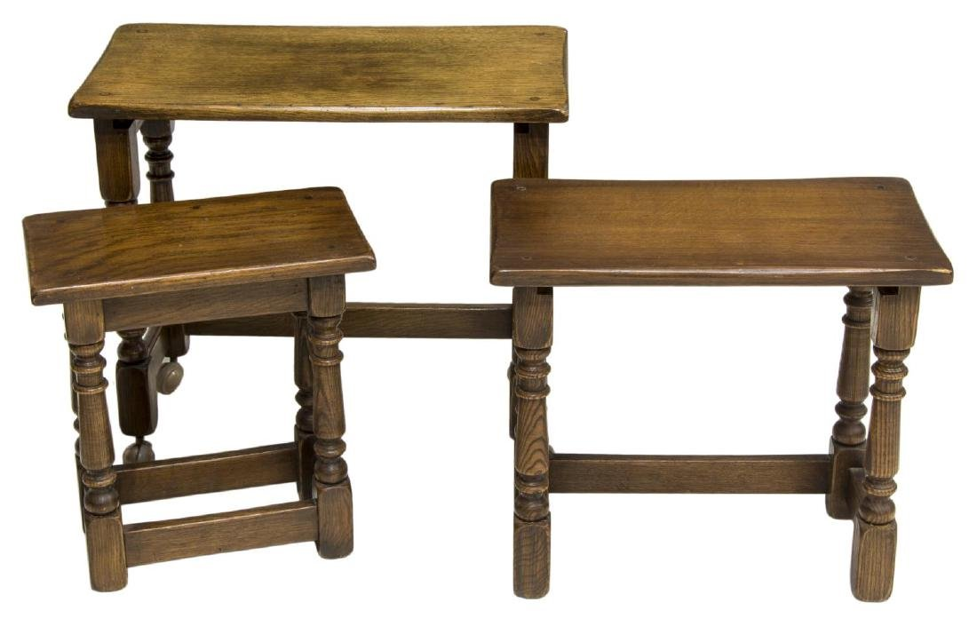 (3) ENGLISH OAK GRADUATED NESTING TABLES - 3