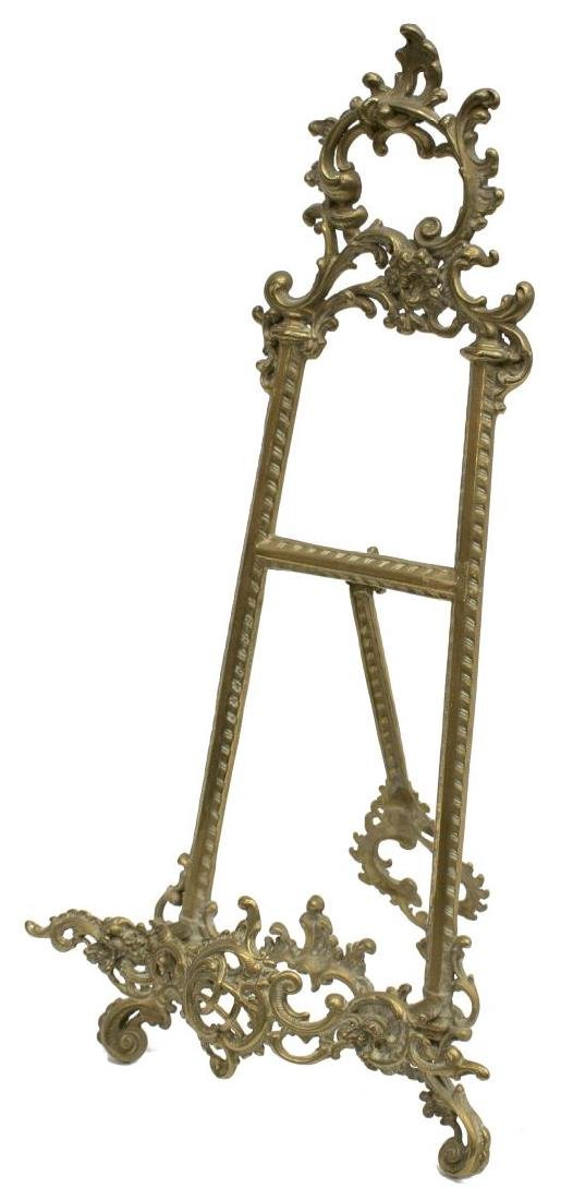 LOUIS XV STYLE SCROLLED ROCAILLE BRASS TABLE EASEL