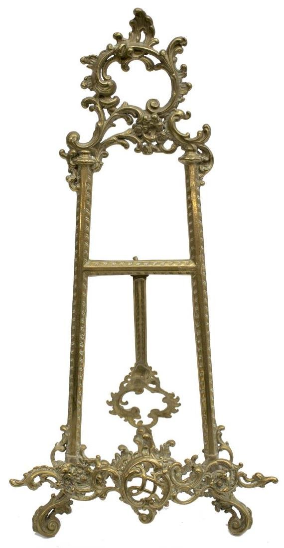 LOUIS XV STYLE SCROLLED ROCAILLE BRASS TABLE EASEL - 2