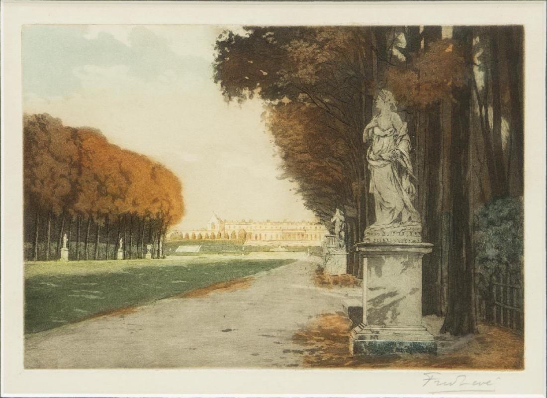 (2) FRAMED HAND-COLORED ETCHINGS, VERSAILLES - 2