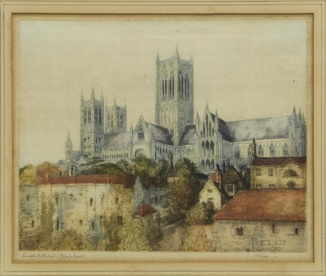 (2) FRAMED HAND-COLORED ETCHINGS, VERSAILLES - 5