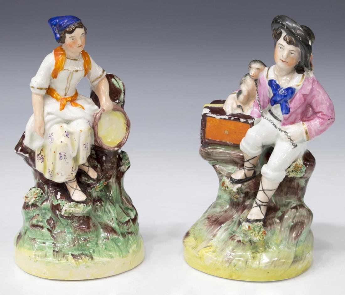 (PAIR) ENGLISH STAFFORDSHIRE FIGURES OF MUSICIANS