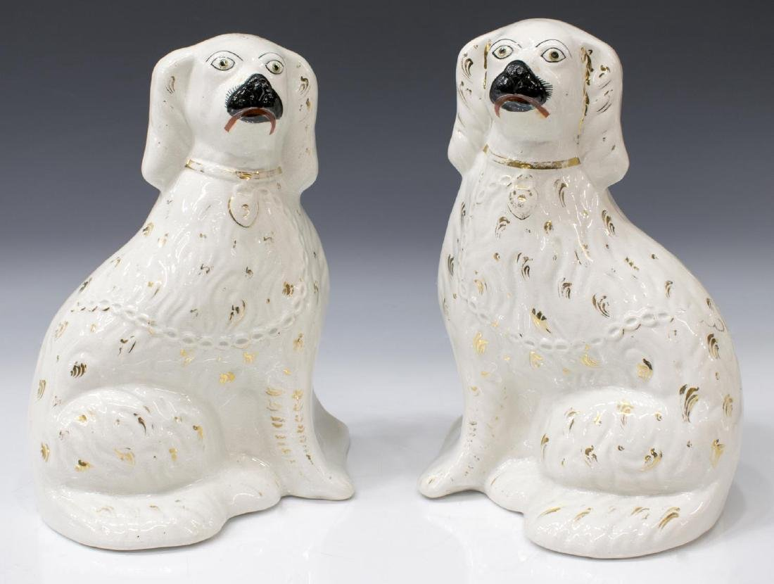 (PAIR) ENGLISH STAFFORDSHIRE FIGURE MANTLE DOGS