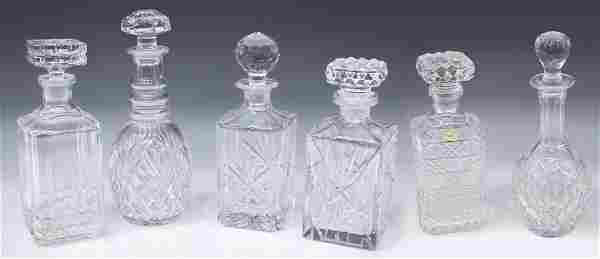 (6) COLLECTON COLORLESS CUT & PRESSED DECANTERS