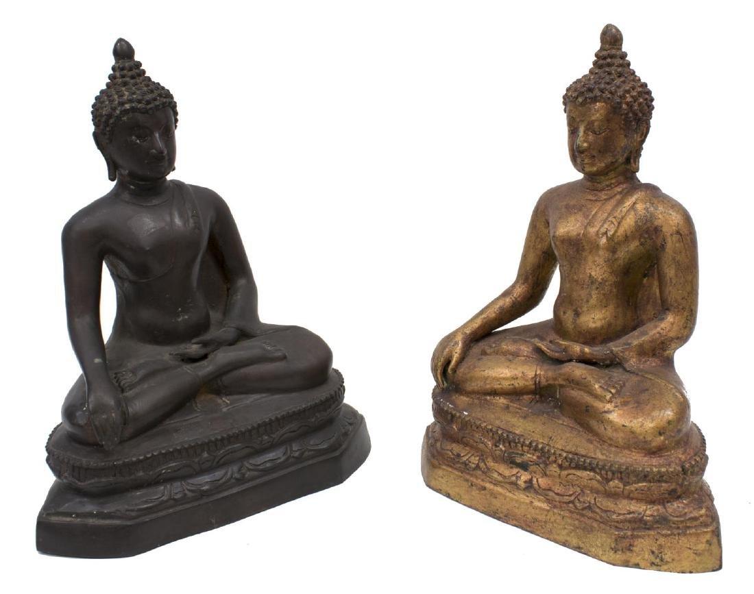 (2) THAI GILDED & PATINATED BRONZE SEATED BUDDHAS
