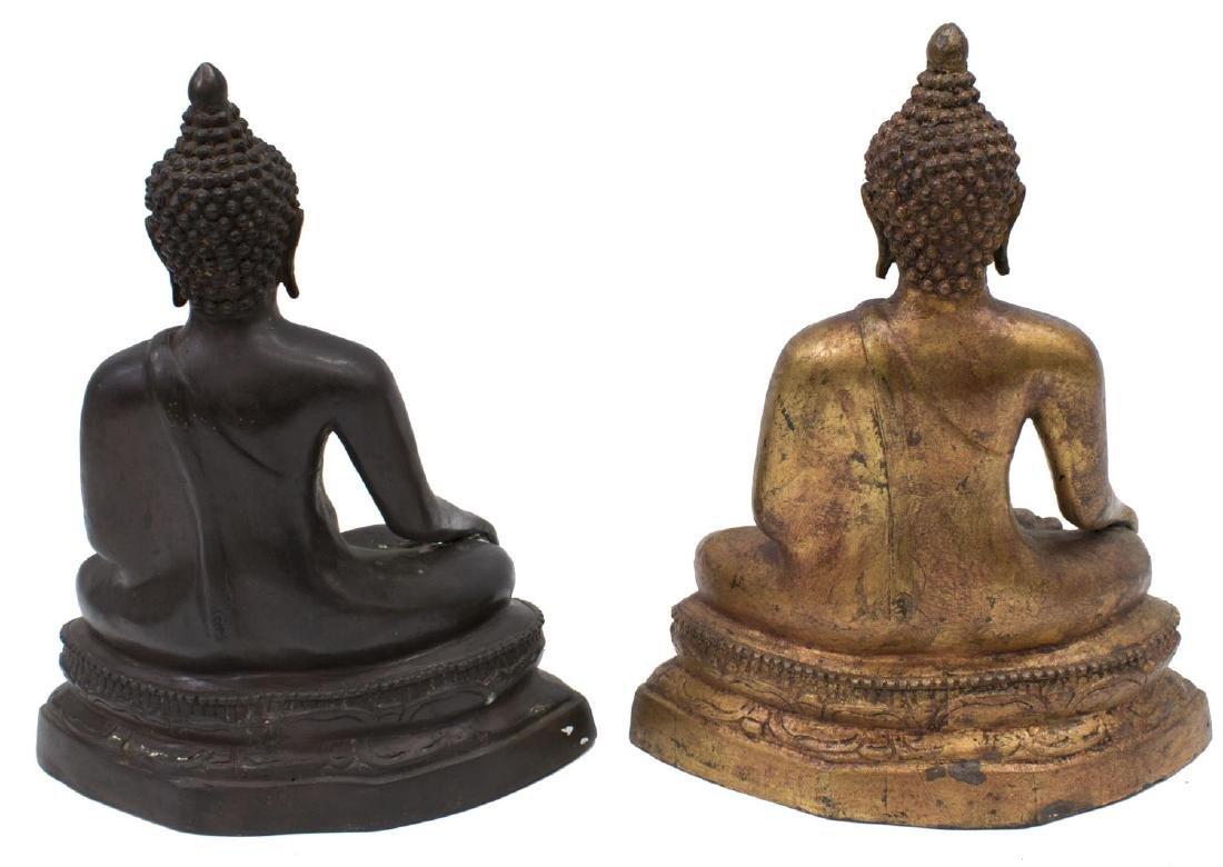 (2) THAI GILDED & PATINATED BRONZE SEATED BUDDHAS - 2