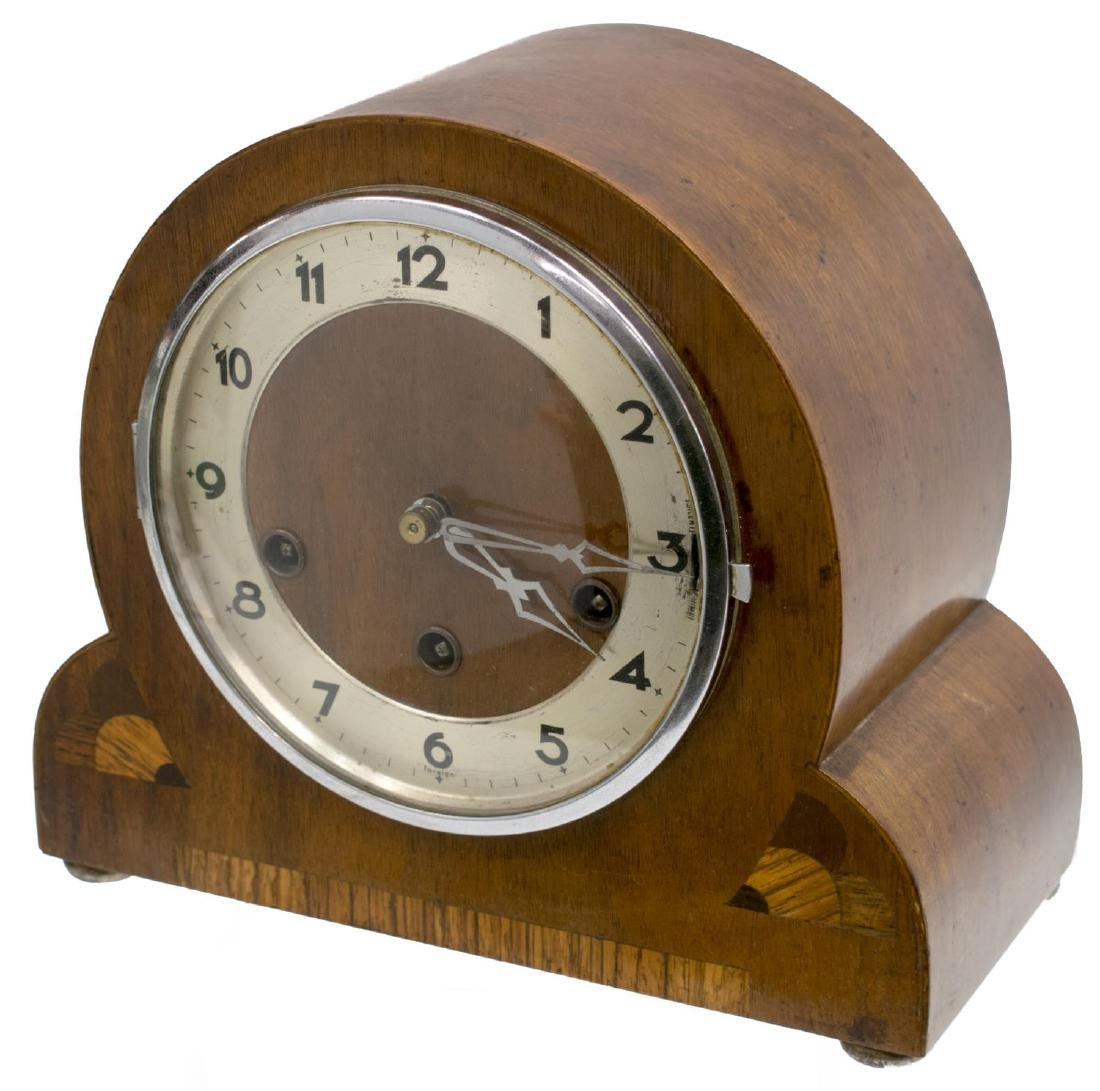 GERMAN GUFA ART DECO WALNUT INLAID MANTLE CLOCK