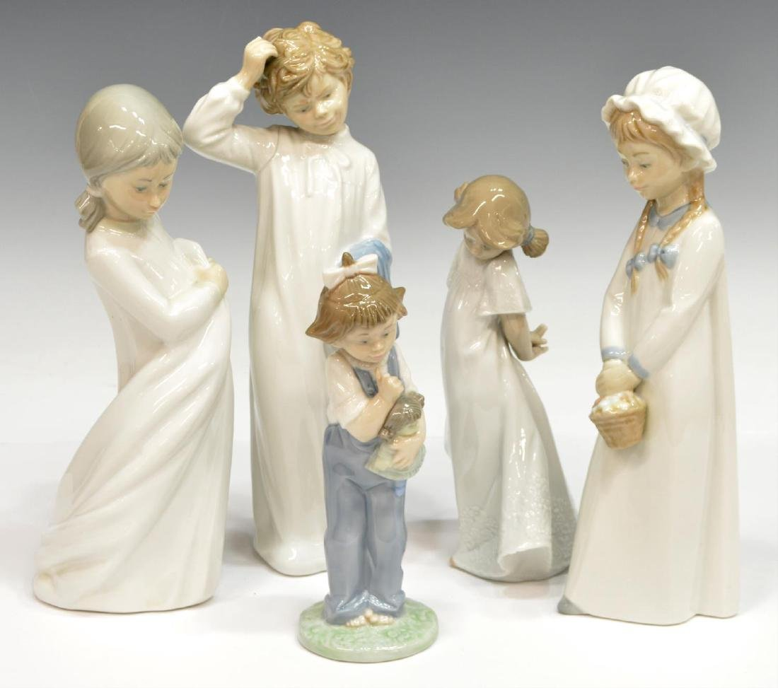 (5) COLLECTION NAO BY LLADRO PORCELAIN FIGURES