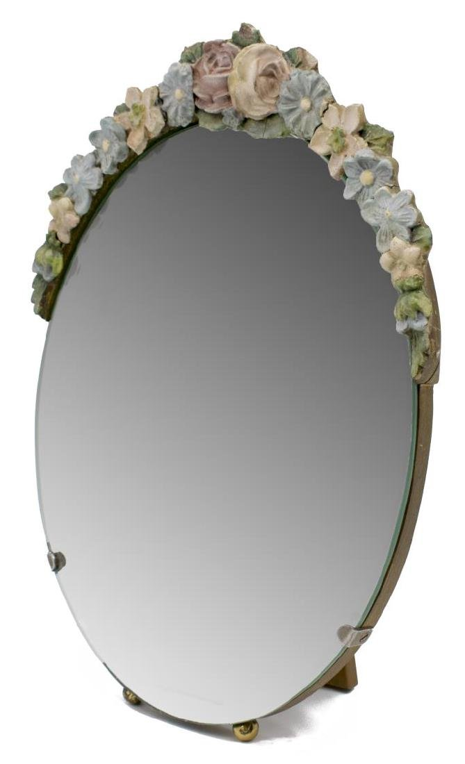 ENGLISH BARBOLA FLORAL BEVELED TABLE TOP MIRROR