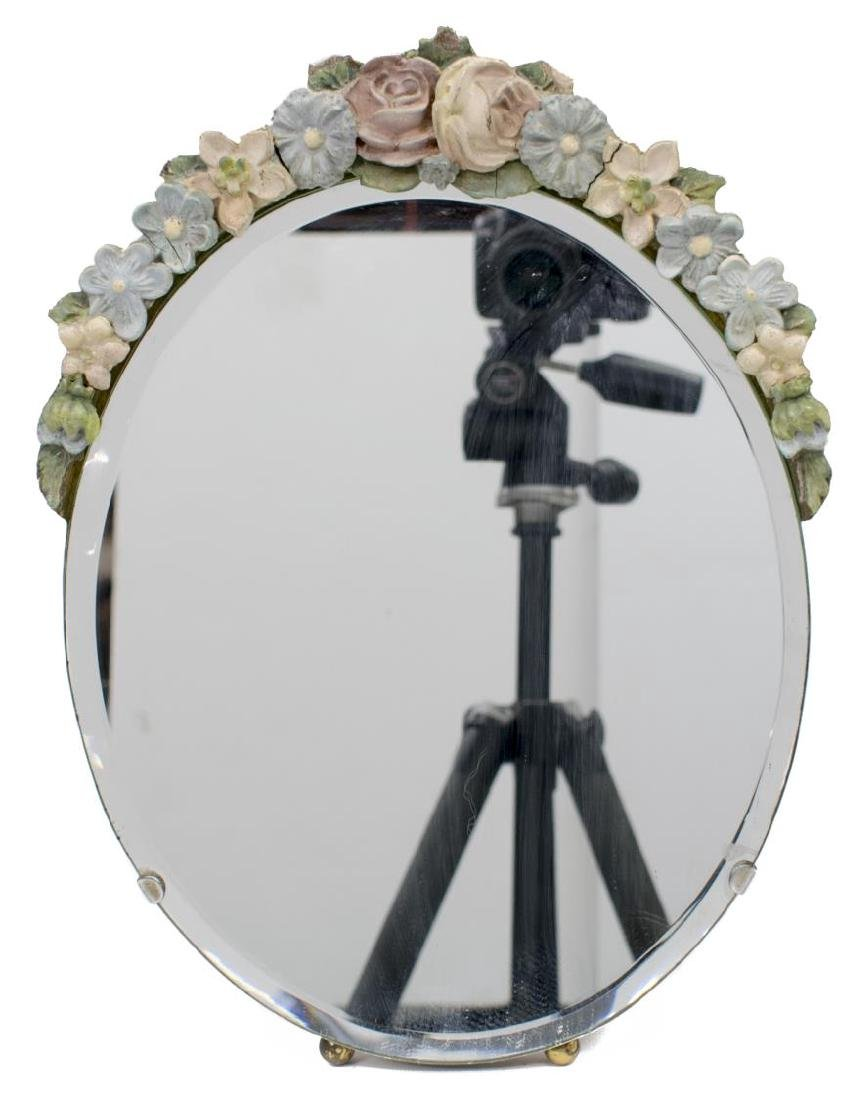 ENGLISH BARBOLA FLORAL BEVELED TABLE TOP MIRROR - 2