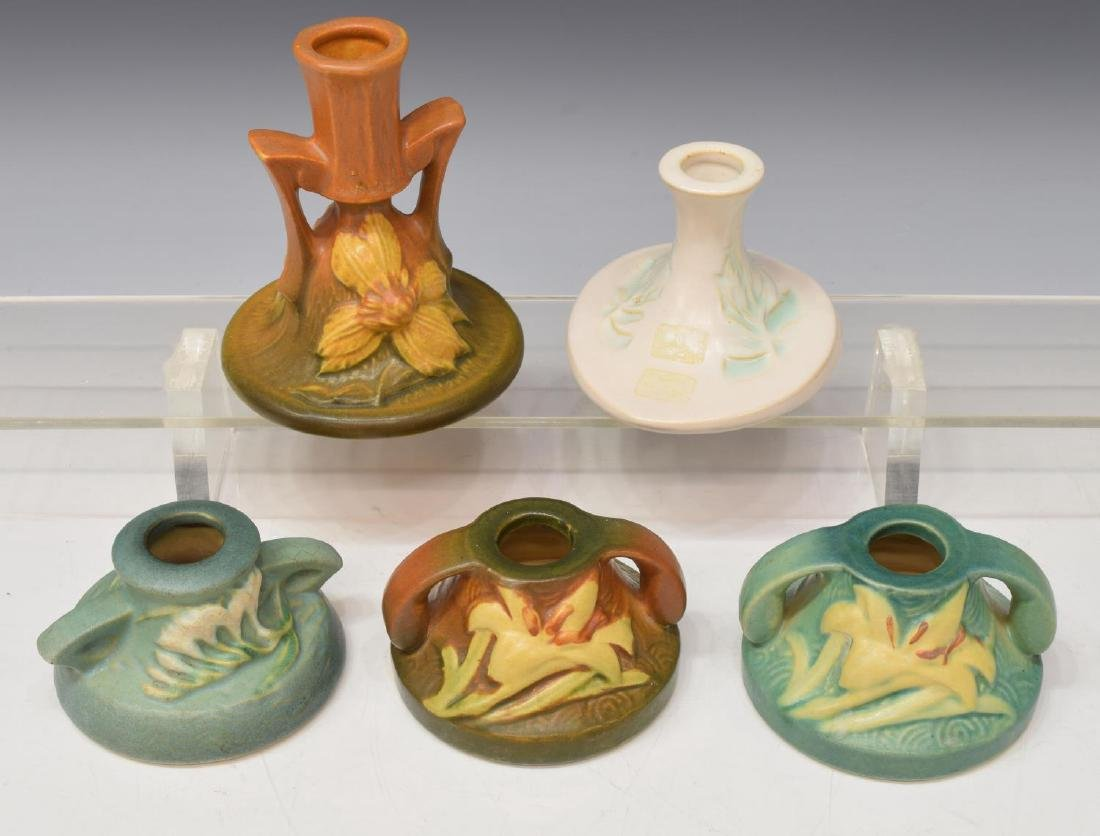 (9) ROSEVILLE ART POTTERY CANDLE HOLDERS - 2