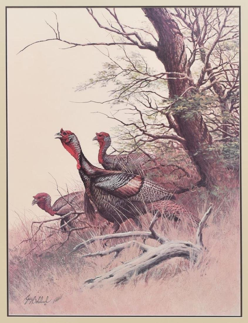 GUY COHELEACH (B.1933) FRAMED 'WILD TURKEYS' PRINT