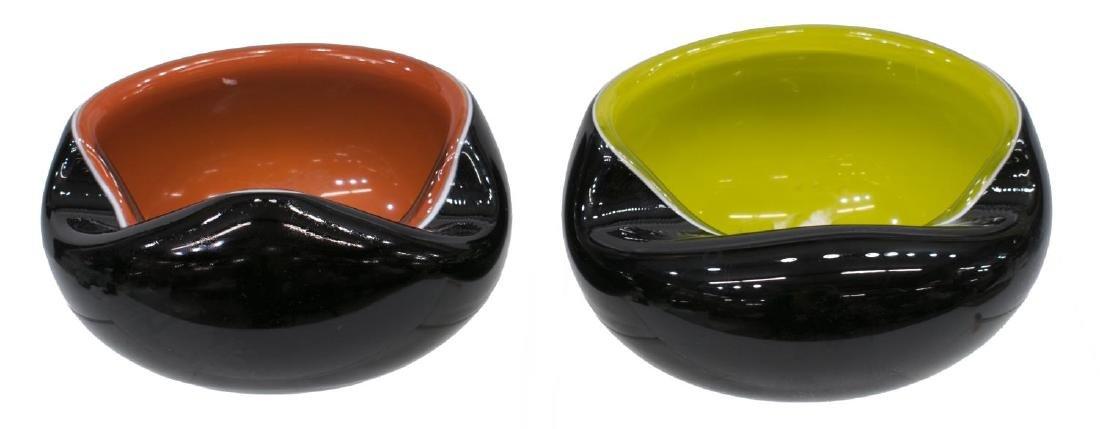 (2) MURANO MID-CENTURY MODERN CASED GLASS BOWLS