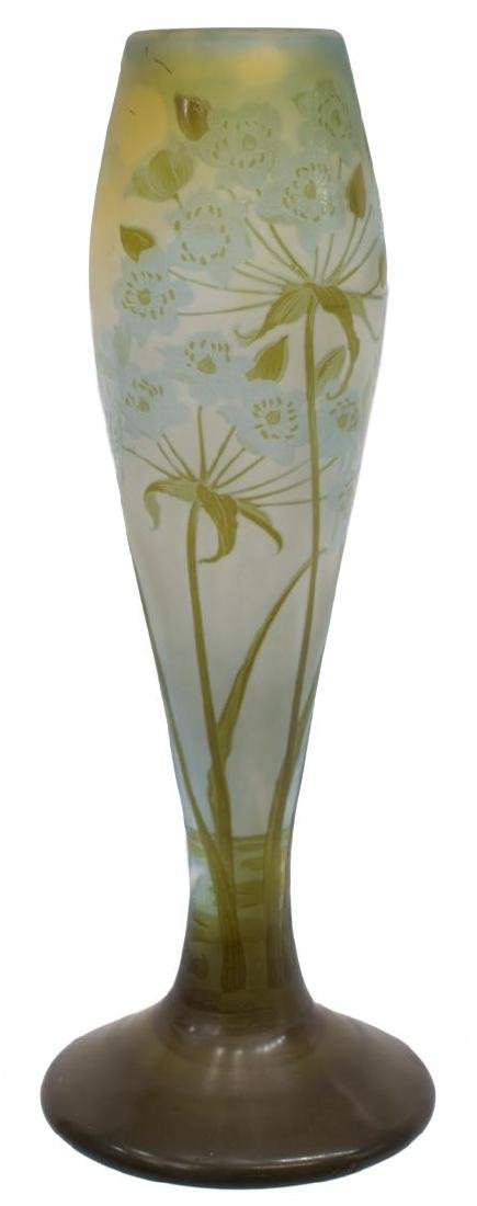"""GALLE CAMEO ART GLASS FLORAL DECORATED VASE, 13""""H"""