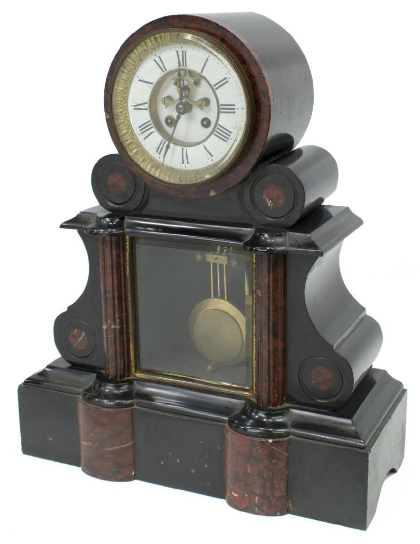FRENCH JAPY FRERES SLATE & MARBLE DRUM HEAD CLOCK