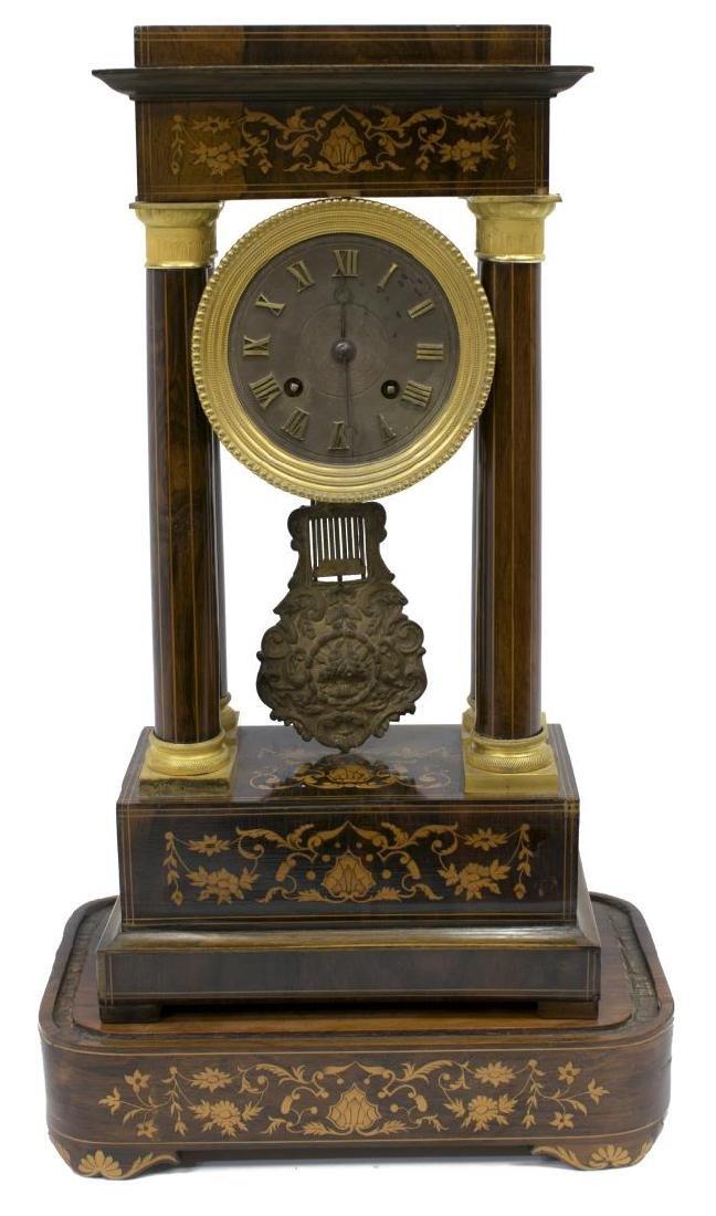 NAPOLEON III PERIOD MARQUETRY PORTICO CLOCK