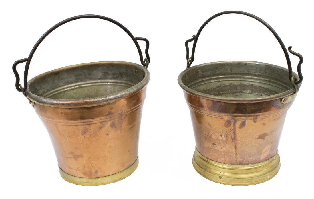 (2) CONTINETAL COPPER PAILS/ BUCKETS W/ IRON BAILS