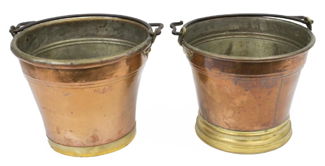 (2) CONTINETAL COPPER PAILS/ BUCKETS W/ IRON BAILS - 2