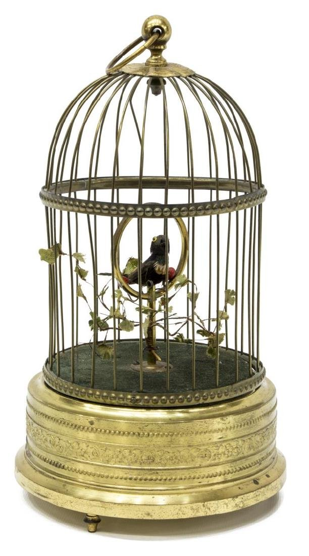 GERMAN GRIESBAUM AUTOMATON SINGING BIRD IN CAGE