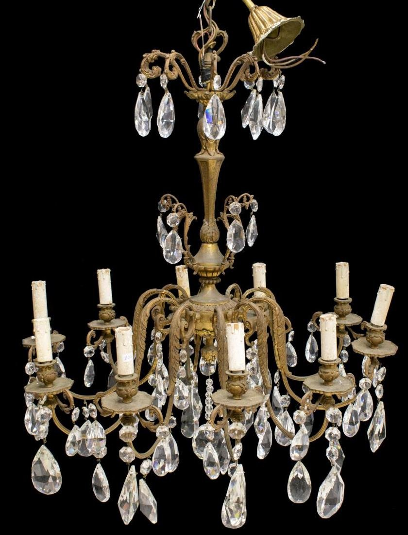 ITALIAN TEN-LIGHT CHANDELIER WITH CRYSTAL PRISMS