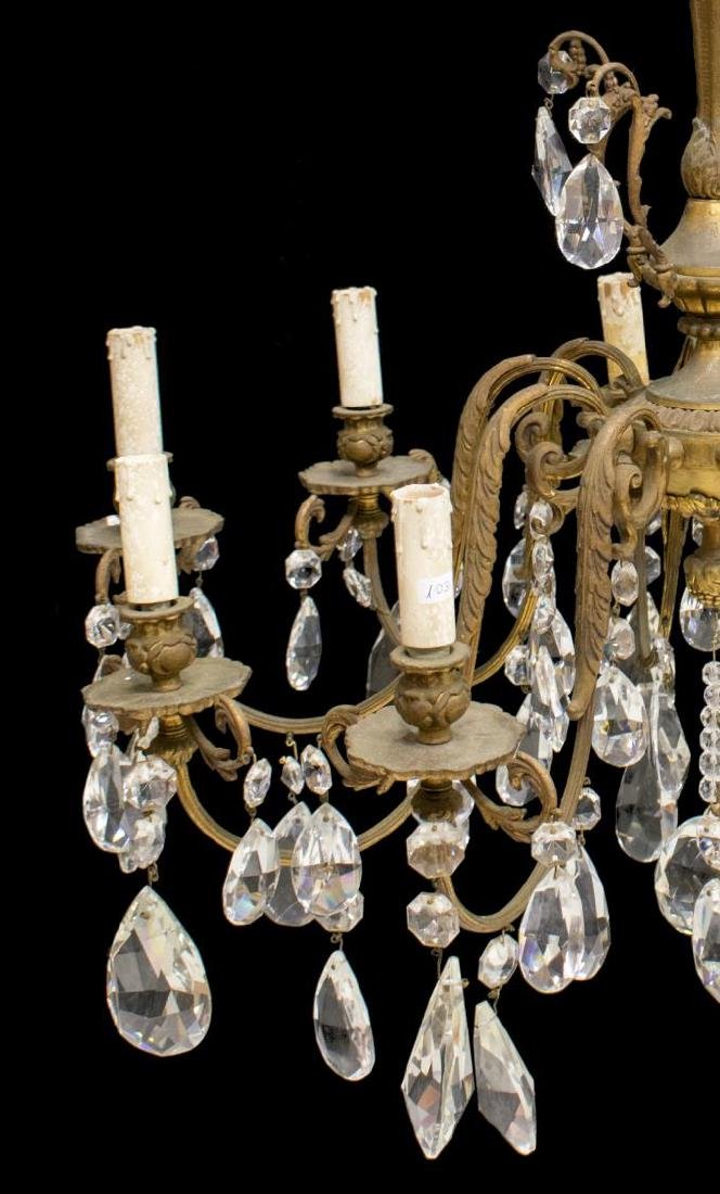 ITALIAN TEN-LIGHT CHANDELIER WITH CRYSTAL PRISMS - 2