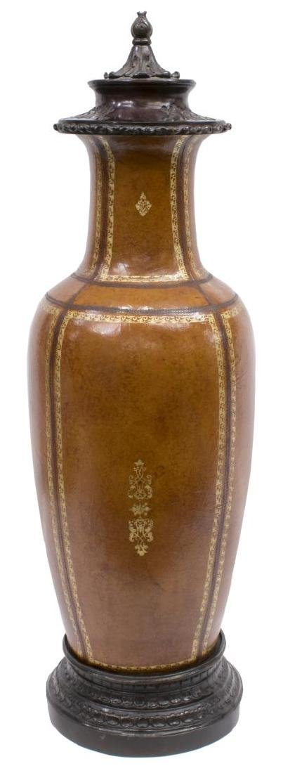 MAITLAND SMITH (ATTR.) LEATHER-WRAPPED COVERED URN