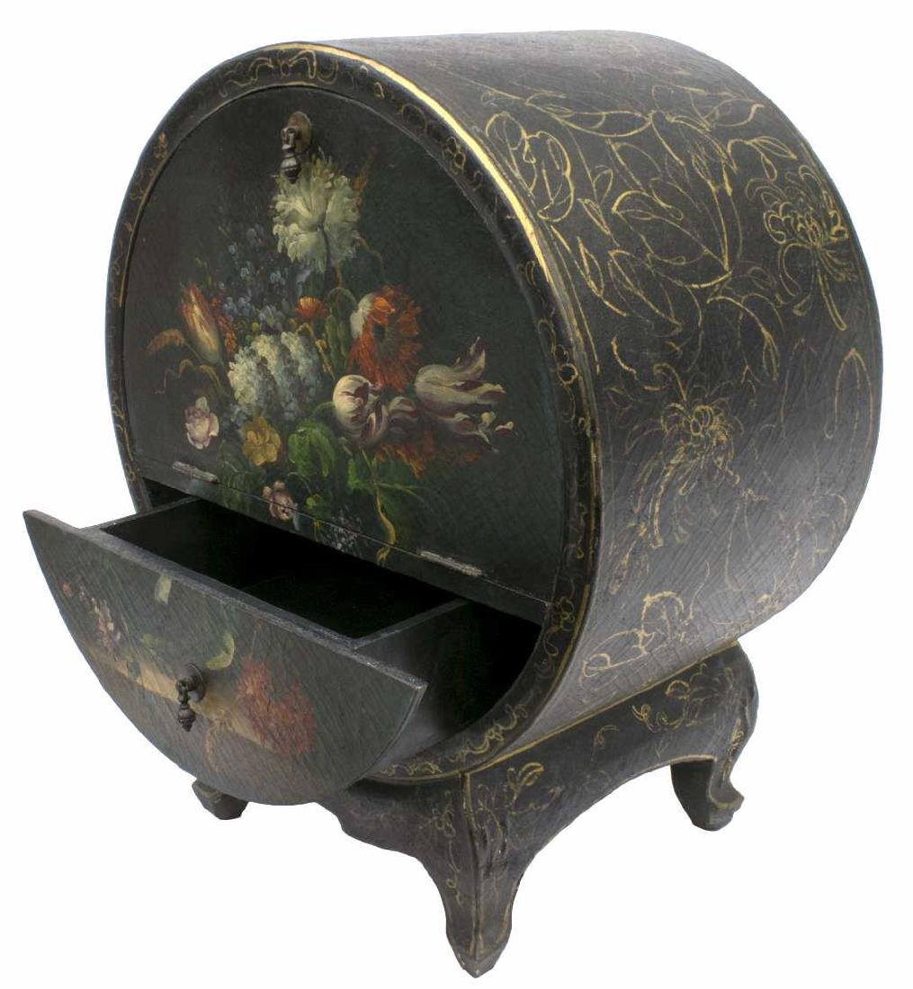 DECORATIVE FLORAL PAINTED BAR CABINET ON STAND