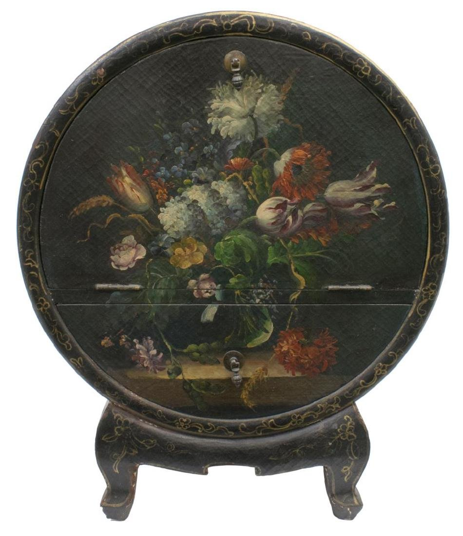 DECORATIVE FLORAL PAINTED BAR CABINET ON STAND - 2