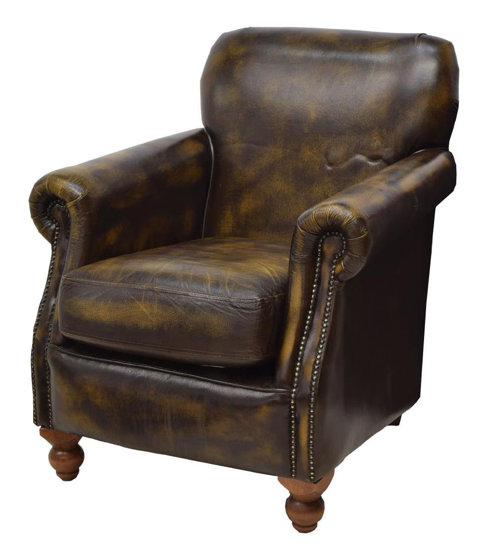 CHESTERFIELD BROWN LEATHER GENTS CLUB CHAIR