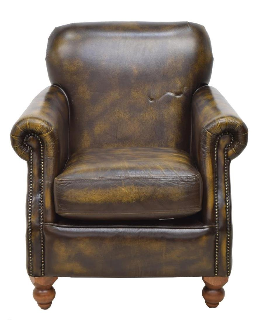 CHESTERFIELD BROWN LEATHER GENTS CLUB CHAIR - 2