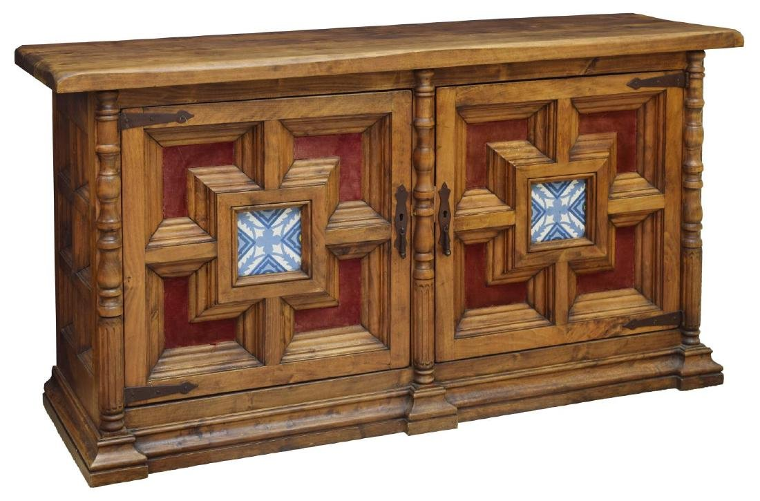 ITALIAN RUSTIC WALNUT AND ART TILE SIDEBOARD