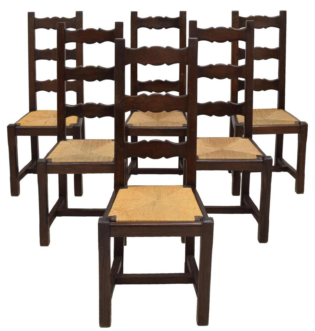 (6) FRENCH COUNTRY PROVINCIAL OAK DINING CHAIRS