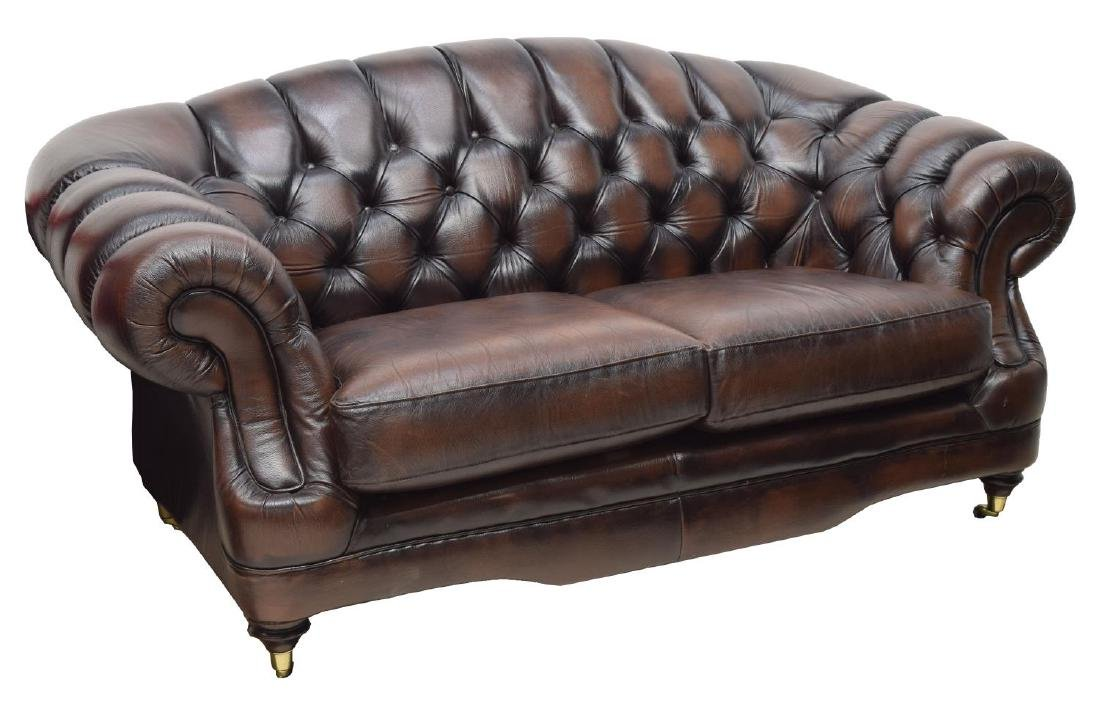 CHESTERFIELD BROWN LEATHER CAMEL BACK 2 SEAT SOFA