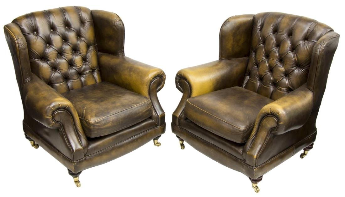 (2) CHESTERFIELD BROWN LEATHER WINGBACK ARMCHAIRS