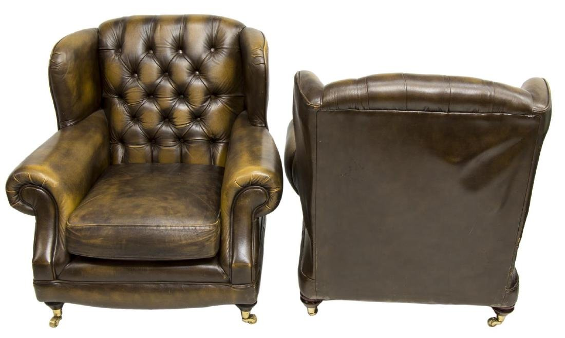 (2) CHESTERFIELD BROWN LEATHER WINGBACK ARMCHAIRS - 2